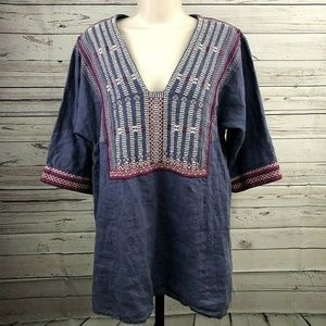 CAbi Womens Linen Tunic Embroidery Boho Top Blouse